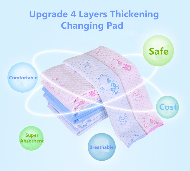 Reusable Baby Kids Waterproof Mattress Bedding Diapering Changing Mat Washable breathable pure cotton thickening (1)