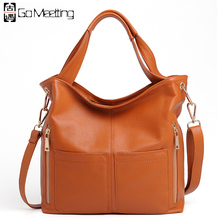 Go Meetting Brand Genuine Leather Women Shoulder Bag High Quality Cow Leather Handbags women's Crossbody Messenger Bags WD22