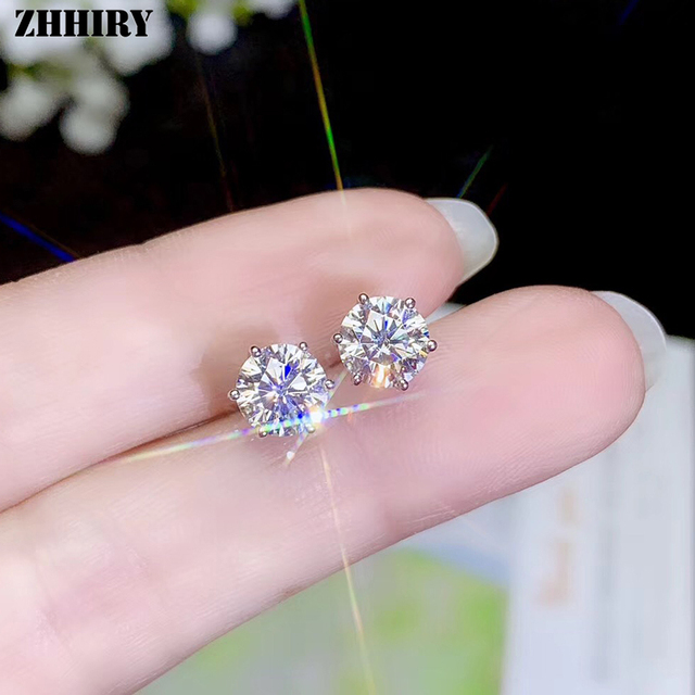 Zhhiry real moissanite 18k brincos de ouro branco para as mulheres parafuso prisioneiro brinco total 2ct d vvs1 pedra preciosa com certificado jóias finas 1