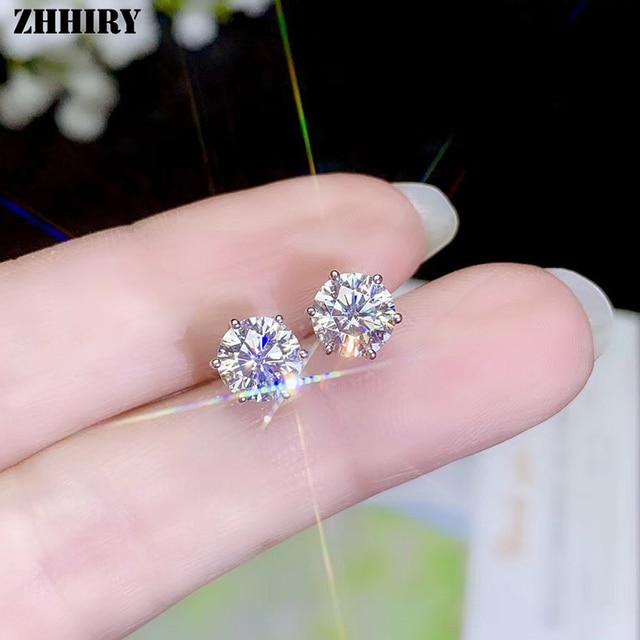 Zhhiry real moissanite 18k branco ouro parafuso prisioneiro brinco para mulher total 2ct cada 1ct redondo 6.5mm d vvs jóias finas 2