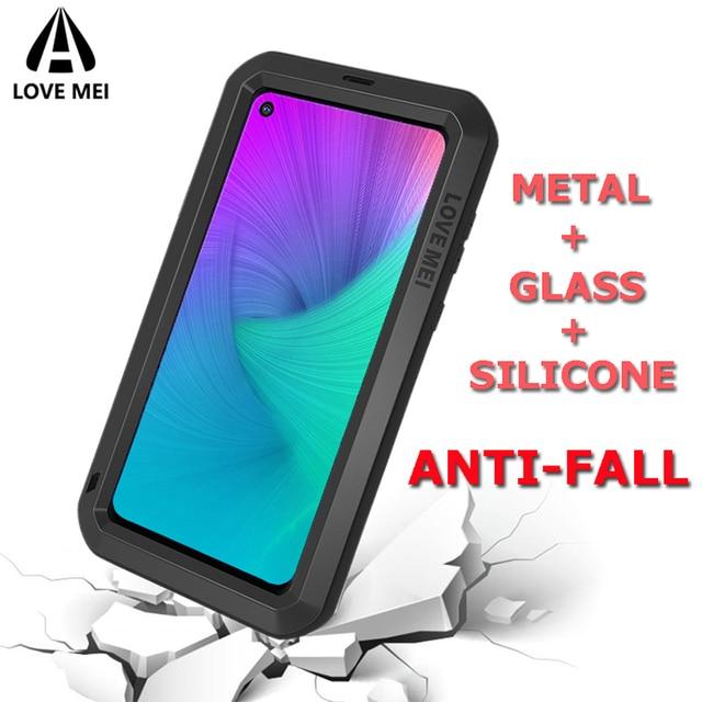 Miłość Mei obudowa marki dla Samsung Galaxy A9 A6 A8 Plus 2018 S10 Plus S10E S10 5G A70 2019 metalowy pancerz, odporna na wstrząsy telefon obudowa