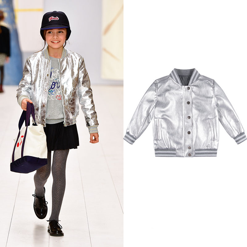 Girls and boys  neutral childrens wear, future time, metal silver, warm padded quilted jacketGirls and boys  neutral childrens wear, future time, metal silver, warm padded quilted jacket