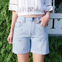 Jeans 2017 Spring And Summer Women S Fashion Embroidered Denim Shorts Elastic Waist S 4XL Fashion