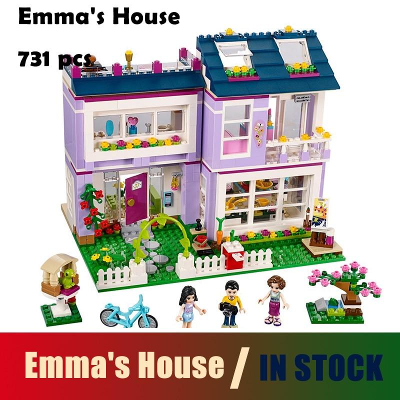 Compatible with Lego BELA 10541 Friends Series Emma's House Building Blocks Classic For Girl Kids Model Toys Marvel bevle bela 10495 friends series luxury villa dream house princess room assemble building block toys compatible with lepin 41108