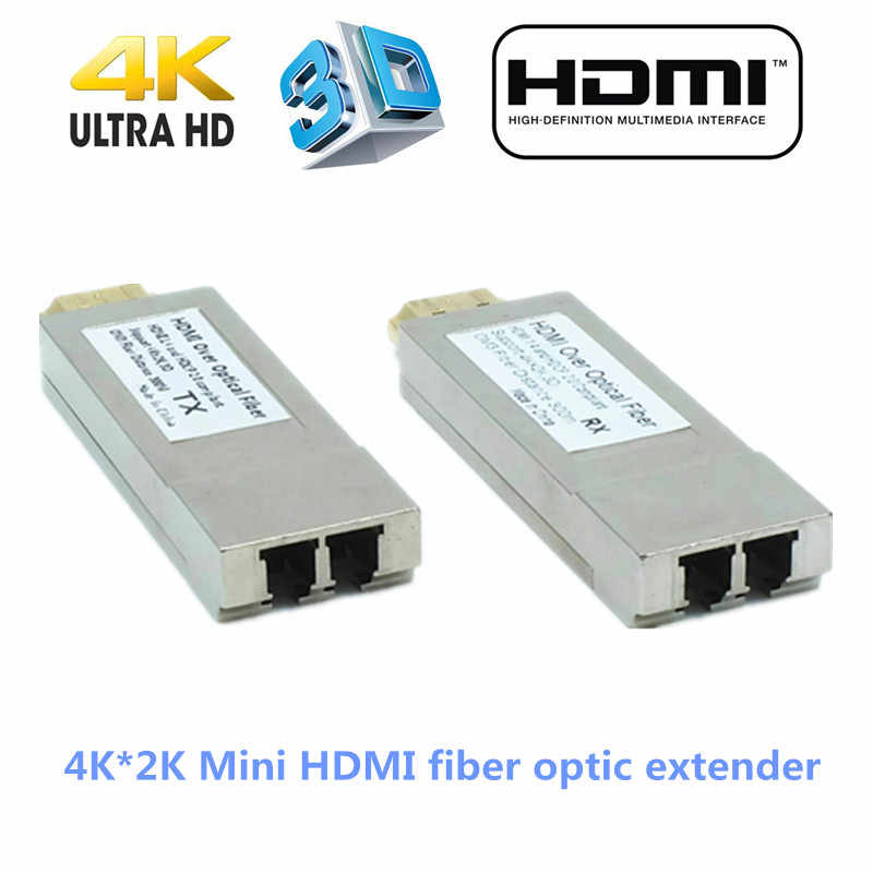 4K X 2K 300 M/1000ft Mini HDMI Serat Optik Extender Transmitter Serat Optik HDMI Converter Melalui serat OM3 Kabel Multimode HDMI1.4V