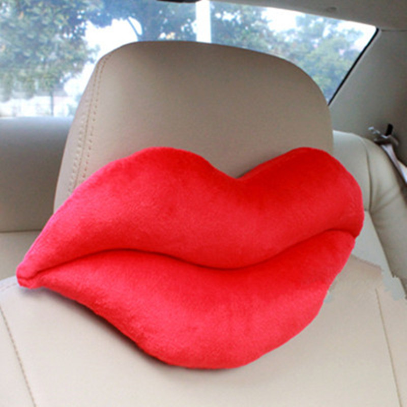 Red Lip Car Seat Neck Pillow Headrest Pad Red Big Lips Shape Black Men Beard Plush Warm Winter Auto Car Seat Cover Nap Pillow