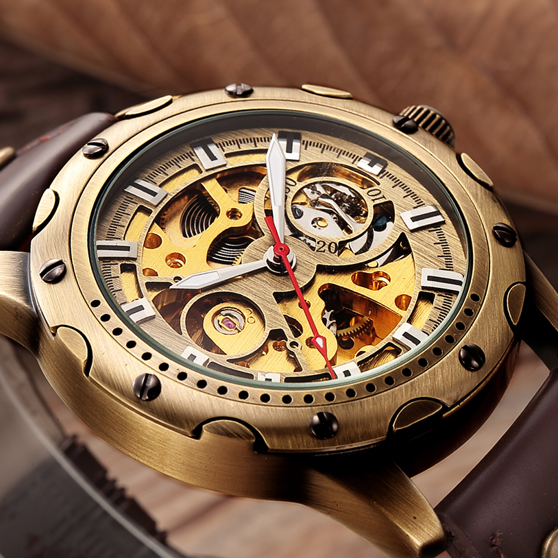 Retro Bronze Skeleton Mechanical Watch Men Automatic Watches Sport Luxury Top Brand Leather Watch Relogio Masculino Male Clock skeleton men self wind leather mechanical automatic watch mens watches top brand luxury male clock relogio automatico masculino