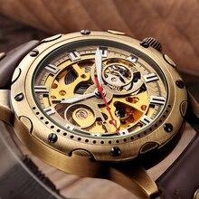 Retro Bronze Skeleton Mechanicalนาฬิกาผู้ชายอัตโนมัตินาฬิกาข้อมือกีฬาสุดหรูแบรนด์นาฬิกาหนังRelogio Masculinoนาฬิกา