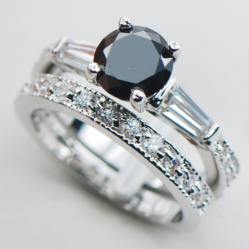 Black Onyx 925 Sterling Silver Top Quality Fancy Jewelry Engagement Wedding  Two Ring Size 5 6