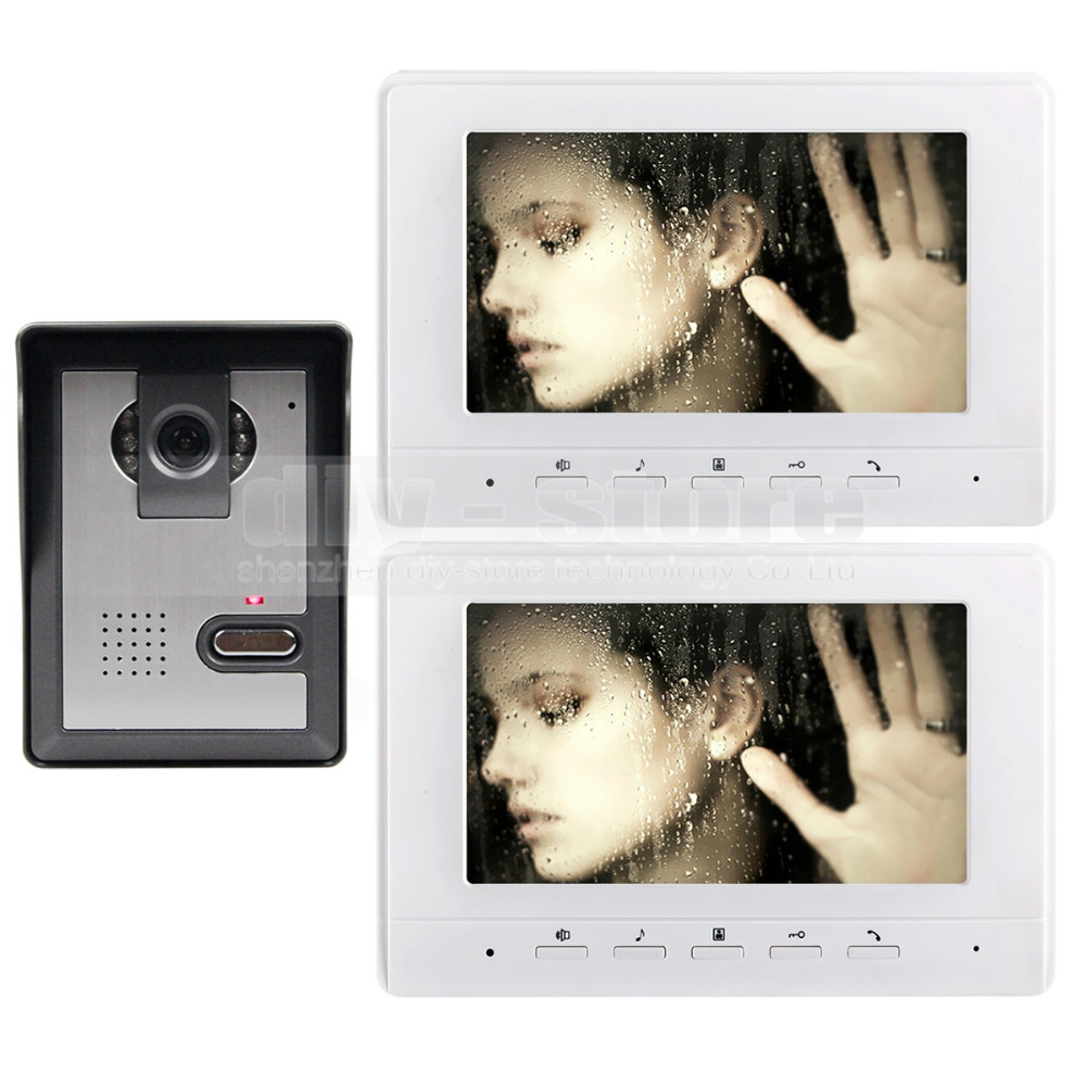 DIYKIT 7inch Video Intercom Video Door Phone 1 Camera 2 Monitors for Home / Office Security System White