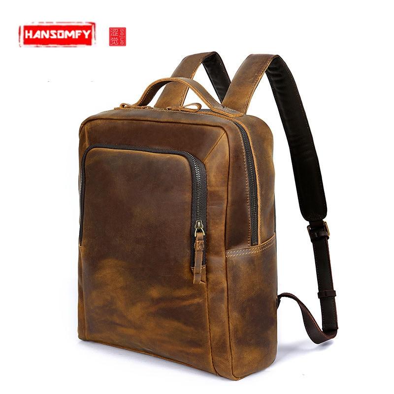 лучшая цена New Men's shoulders foreskin backpack Genuine leather Retro shoulder computer bag Laptop Brown crazy horse leather men bags