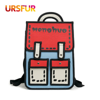 URSFUR New Cartoon Backpack For Teenage Girls 3D Printing Backpack Canvas Quadratic Element School Bags Women