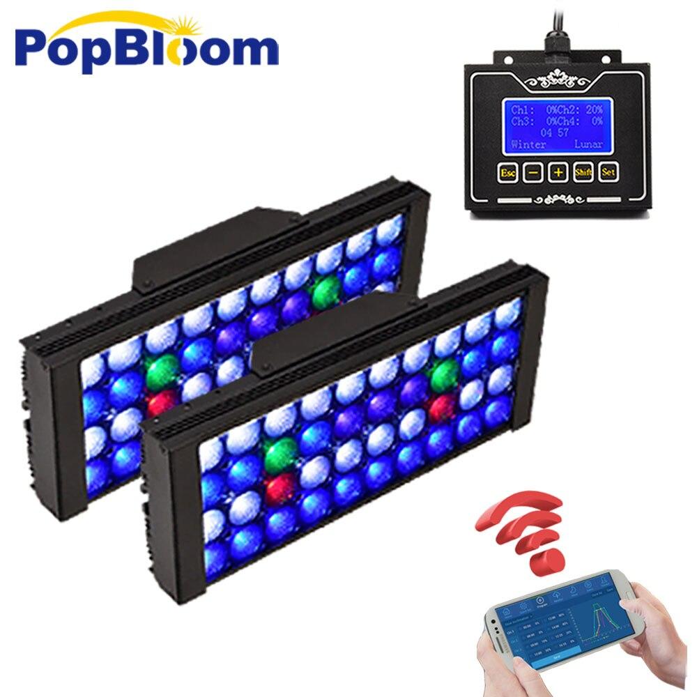 Éclairage de LED pour récif réservoir 2 pièces contrôleur lampe à spectre complet UV Aquarium Dimmable et Programmable LED corail Marine MH3BP2