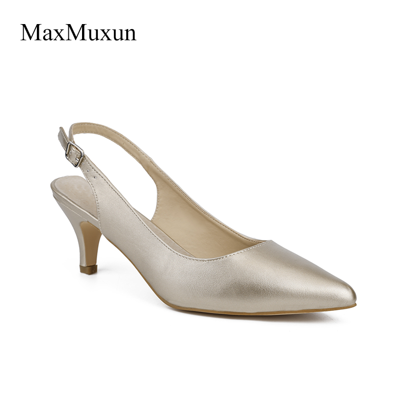 MaxMuxun Elegant Womens Slingback Pumps 2017 Office Ladies Sexy Stiletto High Heels Evening Party Wedding Shoes Bride Gold Black туфли melissa ultragirl slingback