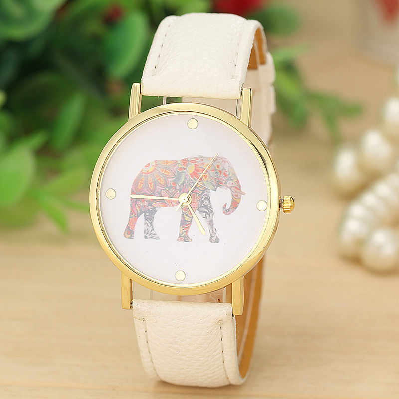 2019 Hot Fashion Women Elephant Printing Pattern Watch Weaved Leather Quartz Dial Watch Reloj de dama Drop Shopping Wd3 sea