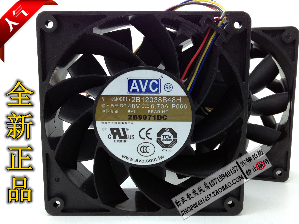 New original AVC 2B12038B48H 12CM 12038 48V 0.70A 120 * 120 * 38mm4 wire PWM fan speed control sunon free shipping new original taiwan blower fan dp200a p n2123hsl 1238 12cm 12038 120 120 38mm 220v wire type