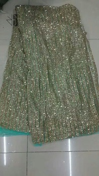 5yards/bag  BZ002 mint green mesh double stripe champagne gold  hand  print glued glitter net mesh lace for sawing