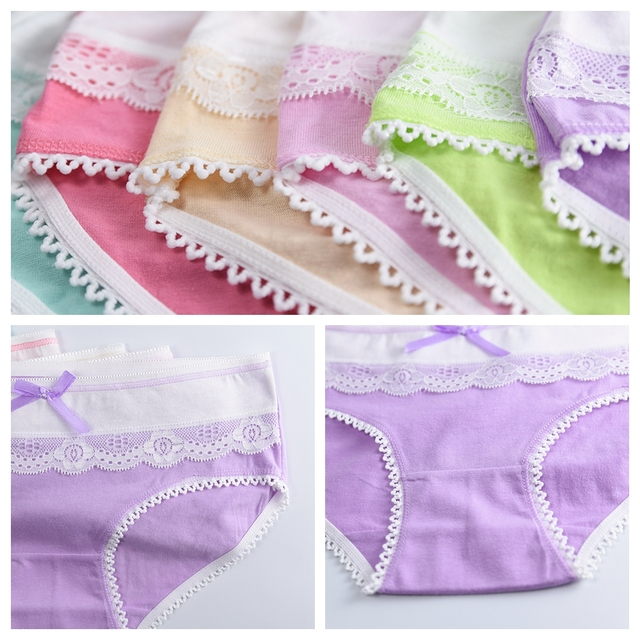4 Piece/lot Soft Cotton Young Girl Briefs for Teenage Girls Panties Candy Colors Kids Underwear Pants Underpants 9-20T 2