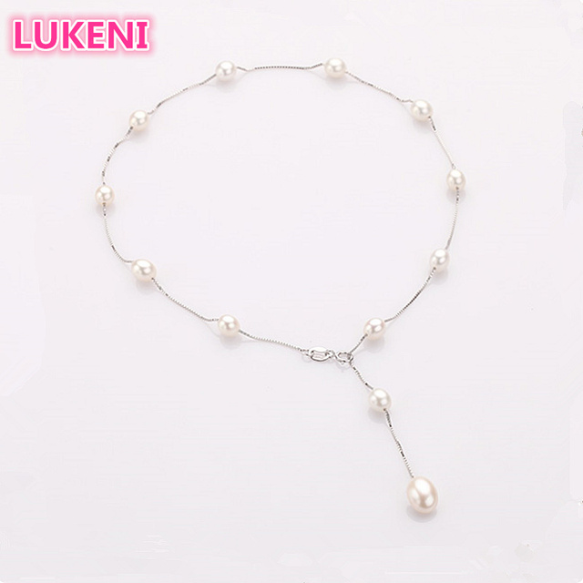 2018 Fashion Pearl Necklace 925 sterling-silver-jewelry Pearl Jewelry 6-7mm real Natural Pearl Choker Necklace  For Women