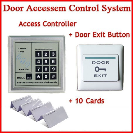 Freeshipping Access Control System with Door Exit Push Button Switch +10 rfid ID card c3 100 single door high quality access control system one door two way access control panel 1 pc rfid reader 1 pc exit button