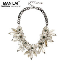 Top Fashion Brand Gun Black Chain Cross Gray Crystal Flower Pendant Statement Necklace Vintage Charm Jewelry For Women CE1513(China)
