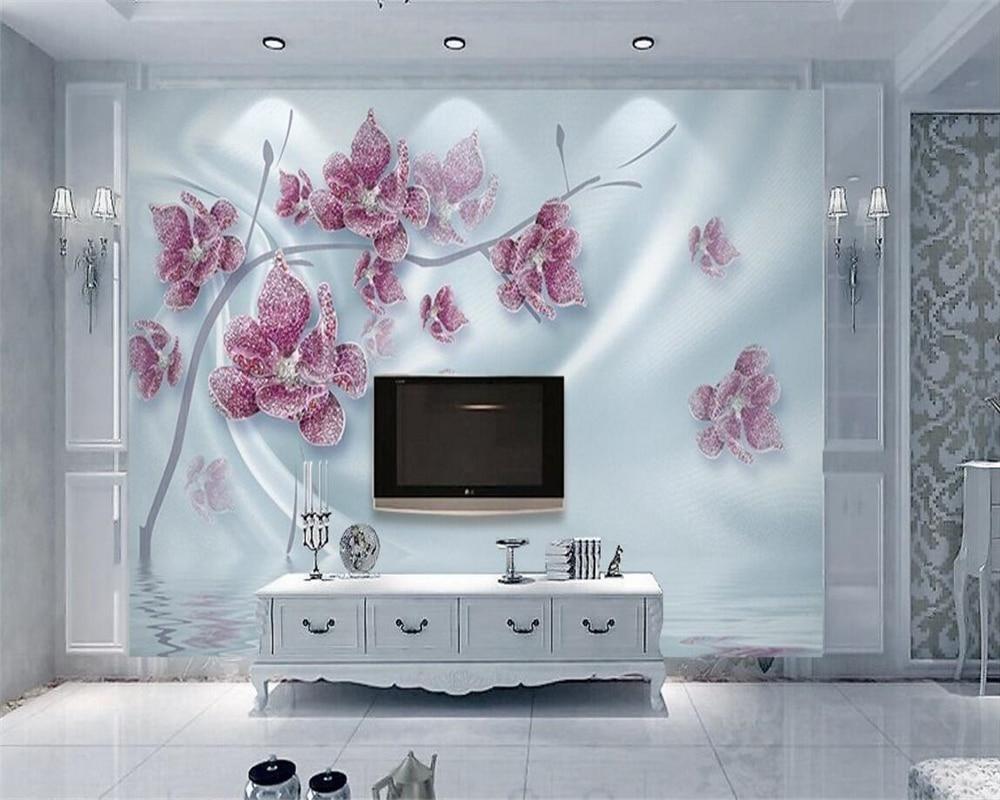 Beibehang Custom Wallpaper Luxury 3d Diamond Flower Silk Water Wave Reflection House Decorated Photo Wallpaper 3d wall murals