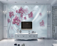 Beibehang Custom Wallpaper Luxury 3d Diamond Flower Silk Water Wave Reflection House Decorated Photo Wallpaper 3d