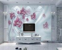 Beibehang Personalizado Papel De Parede De Luxo 3d Flor de Diamante da Reflexão da Onda De Água De Seda Casa Decorada Foto Papel De Parede murais de parede 3d