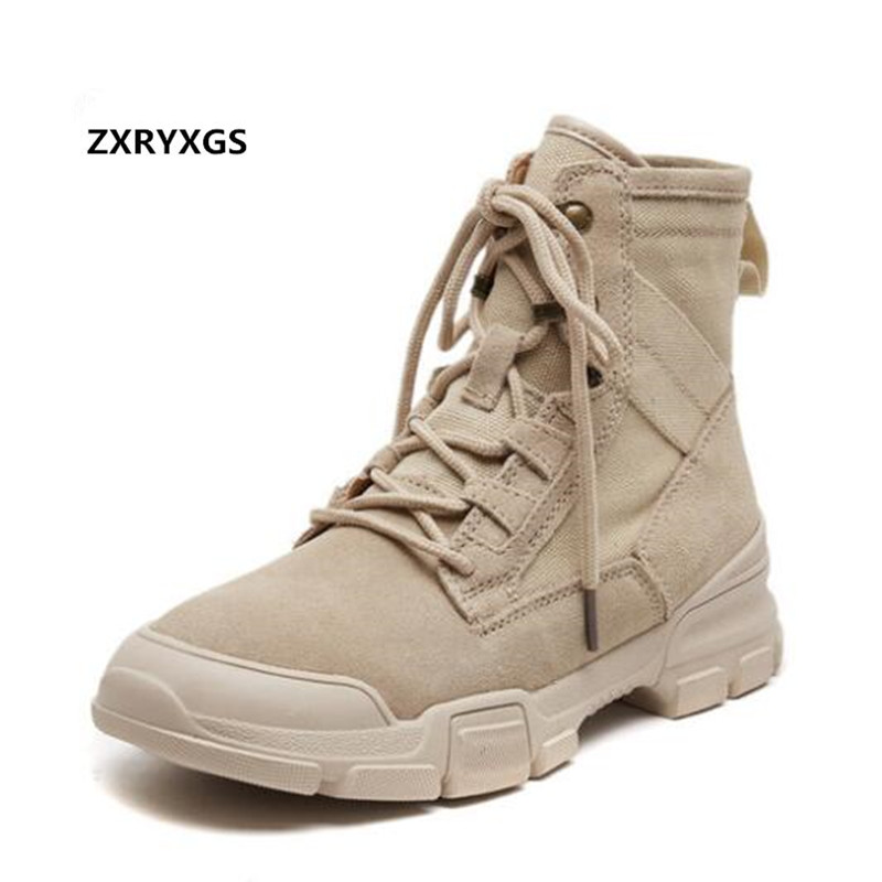 ZXRYXGS Brand Boots Fashion Matte Real Leather Shoes Woman Martin Boots 2018 New Autumn Wild Casual