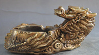 Chinese Folk Brass Auspicious Zodiac Year Animal Dragon Lucky Art Statue Ashtray