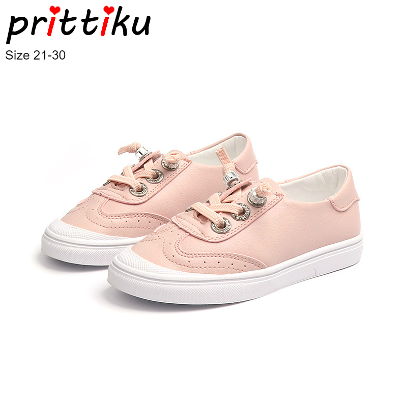 Autumn 2018 Baby Toddler Girls Boys England Style Sneakers Little Kid Lace Up Microfiber Leather Skaters Children School Shoes
