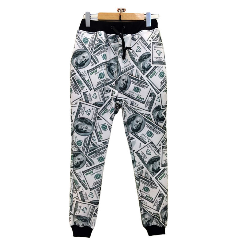 Men Jogger Pants Casual New Fashion Dollars 3D Printed Paper Money Unisex Long Length Trousers Plus Size Comfortable Sweatpants