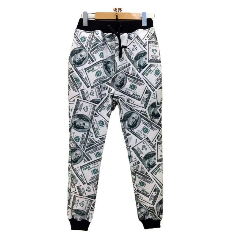 Men Jogger Pants Casual New Fashion Dollars 3D Printed Paper Money Unisex Long Length Trousers Plus Size Comfortable Sweatpants