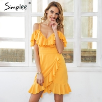 Simplee Strap Cold Shoulder Chiffon Mini Dress Women V Neck Ruffle Casual Summer Dress 2018 Beach