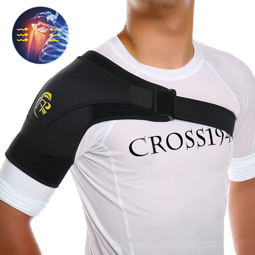 New Sports Magnetic Single Shoulder Brace Support Strap Wrap Belt Band Pad Shoulder Care Bandage Black Adjustable Belt