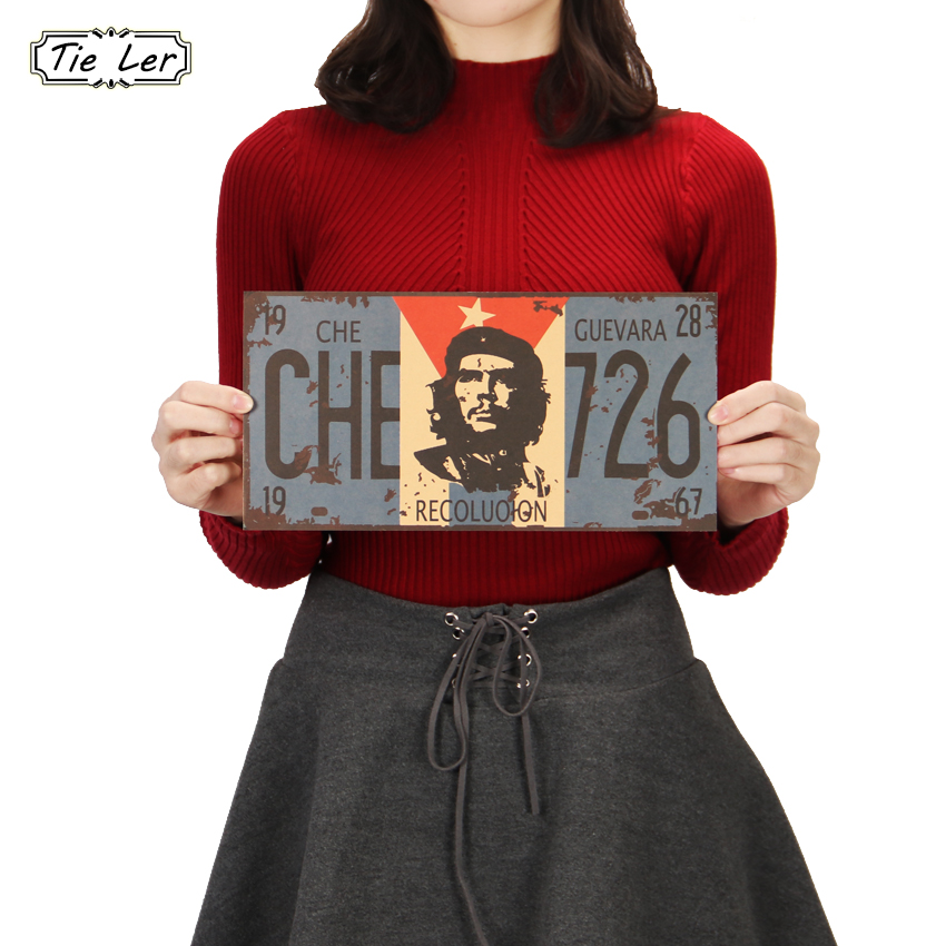 TIE LER 2PCS Che Guevara Retro Posters Advertising Nostalgic Old Bar Decorative Painting Vintage Wall Sticker 30X15cm