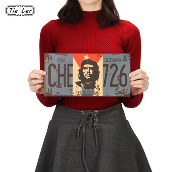 TIE LER 2PCS Che Guevara Retro Posters Advertising Nostalgic Old Bar Decorative Painting Vintage Wall Sticker 30X15cm image