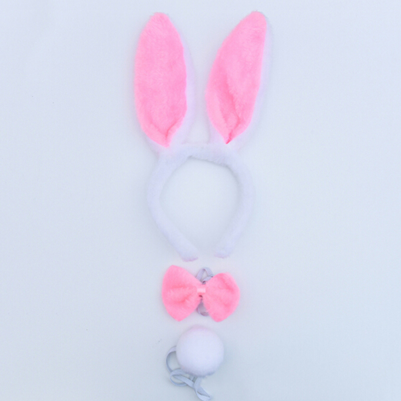 Childs plush Easter bunny ears pink  dress up photo prop headband