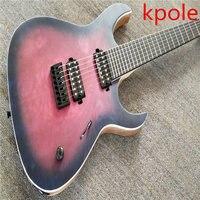 YENI! Kpole Elektro gitar mor patlama, siyah parçaları, 7 dize, abanoz klavye, yorgan alev üst, Özel müzik aletleri