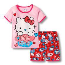 cbf903664 Bebé niños conjuntos de pijamas de los niños de verano de algodón de manga  corta Hello Kitty ropa de dormir niños pijamas niñas .