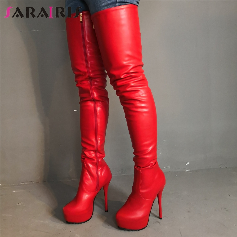SARAIRIS Brand Design Big Size 35-47 Sexy 2019 Womens Shoes Woman Party Red Super High Heels Over The Knee BootsSARAIRIS Brand Design Big Size 35-47 Sexy 2019 Womens Shoes Woman Party Red Super High Heels Over The Knee Boots