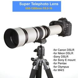 650 1300mm F8.0 16 super teleobiektyw ręczna soczewka powiększająca + Adapter T2 do lustrzanek cyfrowych Canon Nikon Pentax Olympus M4/3 Sony A6300 A7 A7R II GH5 w Obiektywy do aparatu od Elektronika użytkowa na