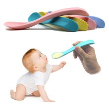 Одноцветная детская ложка для кормления, посуда для кормления, мягкая силиконовая посуда для кормления, принадлежности для ухода за ребенком, для кормления ребенка