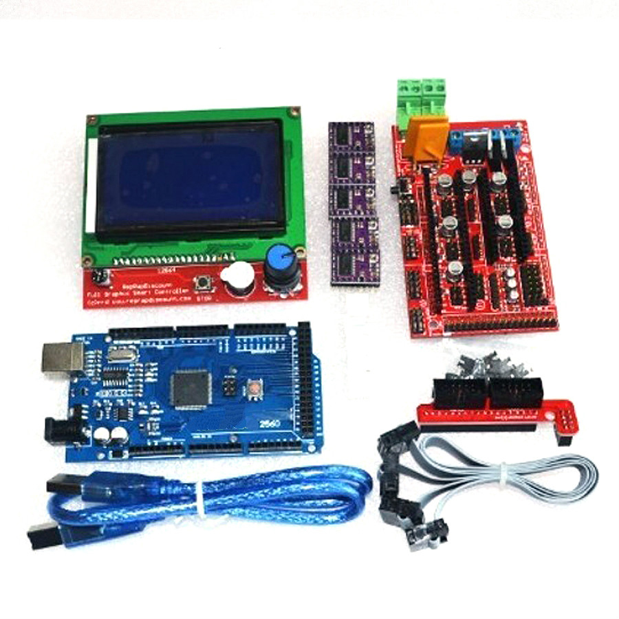 все цены на  3D-P 1pcs Mega 2560 R3 + 1pcs RAMPS 1.4 Controller + 5pcs A4988 Stepper Driver Module +1pcs 2004 controller for 3D Printer kit  онлайн