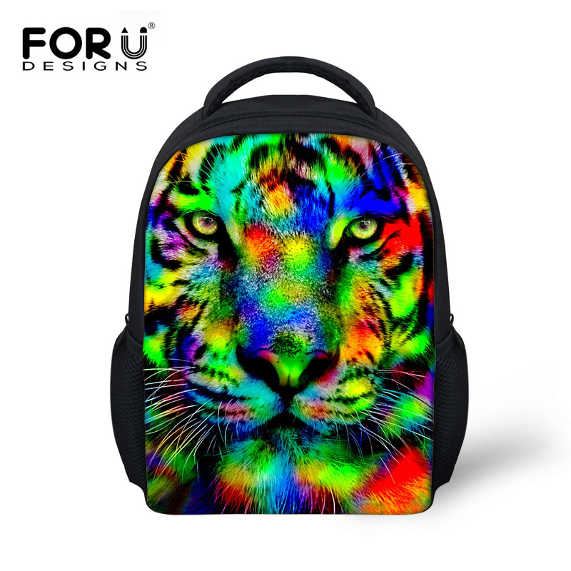 3f6a4005930 Colorful 3D Animal Printed School Bags for Boys Girls Small Backpack,Tiger  Owl Horse Head Shoulder Bag Kids Mini Bookbag Mochila