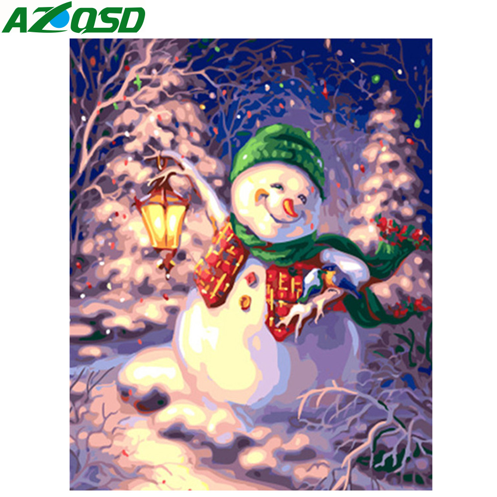 AZQSD DIY Painting By Numbers Snonman Christmas Pictures Frameless Paint On Canvas Hand Painted Oil Drawing Painting Arts