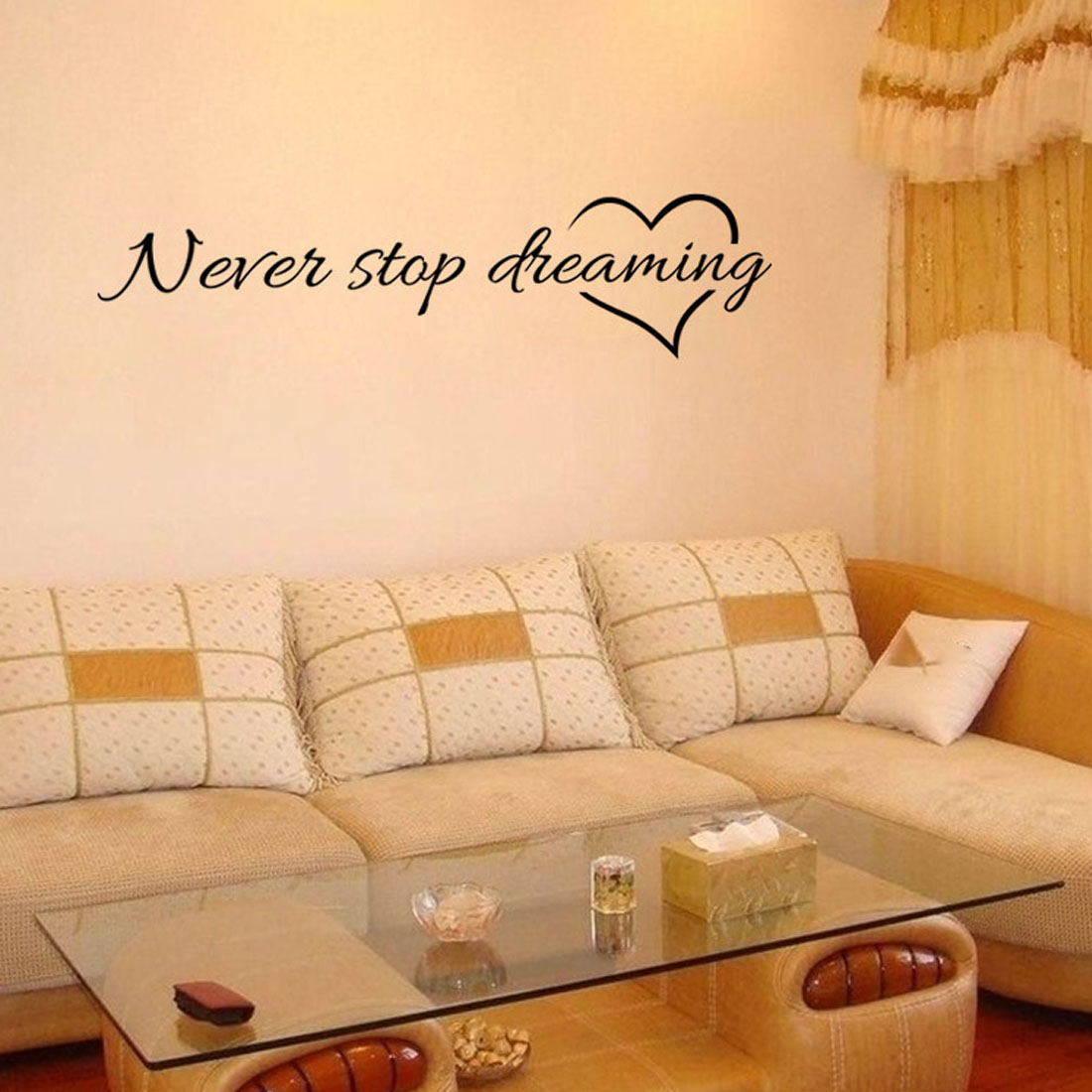 Never stop dreaming wall stickers living room quarto decorative ...