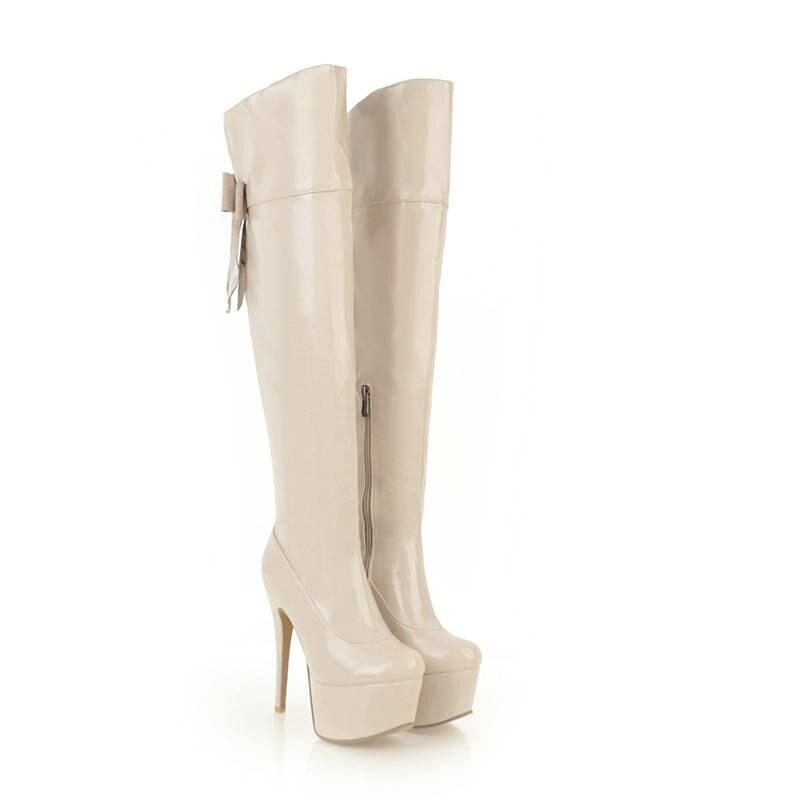 Grande Tamaño Sobre Beige Zip negro Sexy 48 Toe Zapatos Mujeres blanco Botas De Plataforma Redonda Rodilla Morazora Baile rojo La Invierno Tacones 2018 33 Aguja 54XqqEw