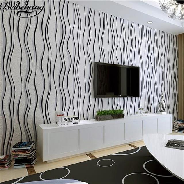 Beibehang Schwarz Weiß Gestreiften Tapete Moderne Einfache Vliesstoffe Tapete  Schlafzimmer Wohnzimmer TV Hintergrundbild