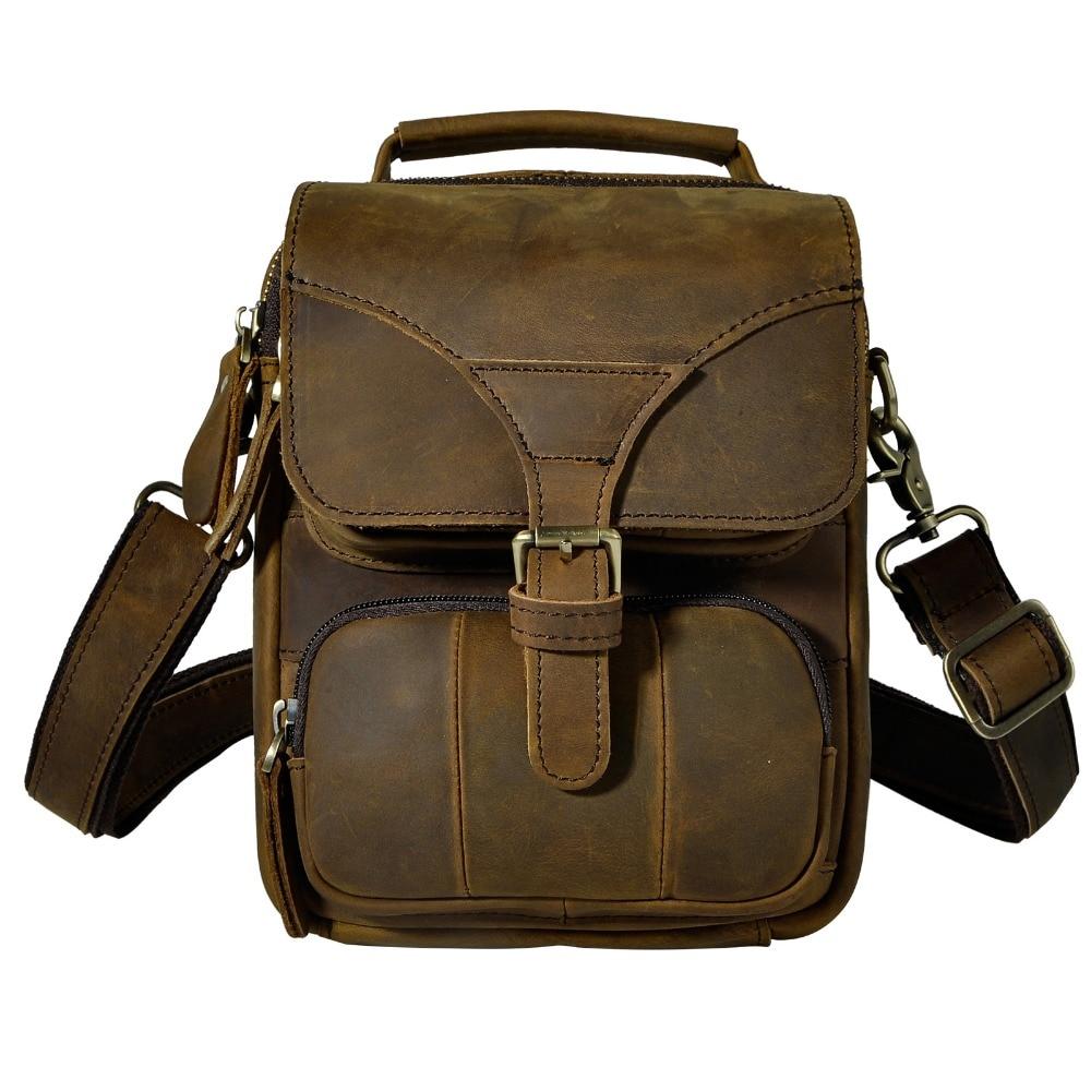 Högkvalitativa äkta läderfodral kepsar män Små Messenger Bag Väska ... d64dc5c8dfaa6